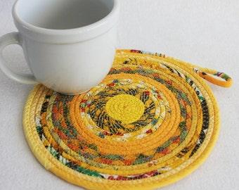 Coiled Rope Mat / Fabric Coiled Mat / Mug Rug / Trivet / Hot Pad / Round Coiled Mat / Yellow Boho Bohemian by PrairieThreads