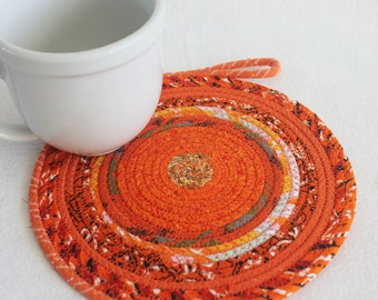 Coiled Rope Mat / Fabric Coiled Mat / Mug Rug / Trivet / Hot Pad / Round Coiled Mat / Orange Bohemian by PrairieThreads