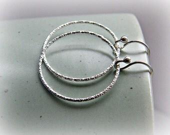 Silver circle earrings, front circle earrings, front hoop earrings, everyday silver earrings, laser cut sterling silver dangle earrings