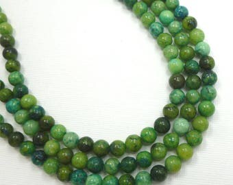 6mm Chrysocolla Green and Blue Semi Precious Stone Beads, Full Strand
