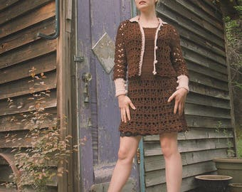 Size S/M... Vintage 1960s/1970s Crochet Dress and Cardigan Set... Adorable Crocheted Outfit