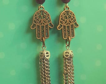 Bronze Filigree Hamsa Good Luck Fatima Hand Yoga Spirituality Jewelry Dangle Earrings Upcycled Recycled