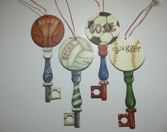 Hand Painted Sport Key Ornaments     Softball     Baseball  Soccer   Basketball  Volleyball   Easter Basket Filler  Valentine's Day