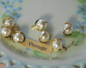 Vintage Beads Drops Dangles Wire Pearl Japan Charm Charms Retro Art Deco 9mm round 12mm long Gold Tone NOS #959S