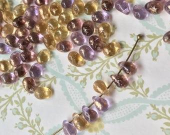 Renaissance beads, TearDrop Beads, Glass Drops, 4x6mm Drops, Teardrop Beads, Glass Drops, 4x6mm Drops,Purple teardrops, Picasso beads #740A