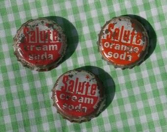 3 Salute Soda Bottle Caps, Cream Soda and Orange Soda, one cork lined