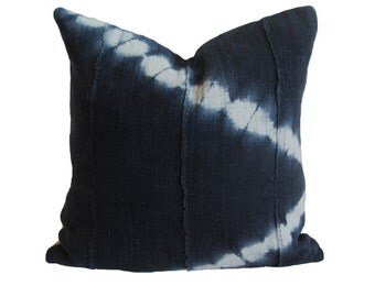 Black & White Tie Dye African Mud Cloth Pillow
