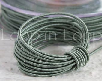 Green Blue Jade SILK cord, Wrapped Silk Satin Cord rope 1.5 mm thick, organic natural hand spun silk, polyester core, for Jewelry (3 feet)