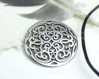 Large Filigree Connector Round Pendant Antique Silver Black Patina 2 Holes, Greek Mykonos Metal Casting, European Cast Zamac 31mm 1 pc BP33