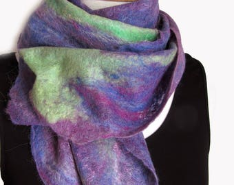 Pure Wool and Alpaca Scarf - Felt Purple Cowl - Made in Australia - Lavender