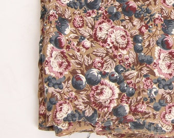 Vintage Cotton Fabric Brown Purple Floral Cherries