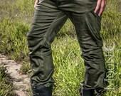 "NEW: Men's ""Gahan"" Sateen Rivet Pants in Black or Olive Green by Opal Moon Designs (Sizes 30, 34, 38 waist)"