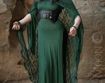 """Specialty: The """"Green Fairy"""" Hooded Lace Cape with Trim by Opal Moon Designs (One Size)"""