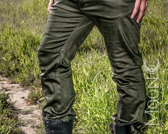"NEW Men's ""Gahan"" Sateen Rivet Pants in Black or Olive Green by Opal Moon Designs (Sizes 30-38 waist)"