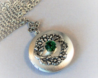 May Flowers,Emerald Necklace,Emerald Locket,Emerald,Green Locket,Birthstone Locket,Birthstone ,May Birthstone,Birthsotone,Valleygirldesigns