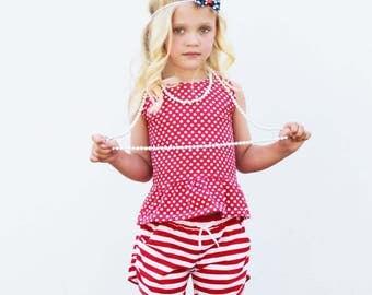 Peplum Top | Polka Dots | Sizes 3 Months to 7/8 | girl top, baby girl, ruffle shirt, purple, gray