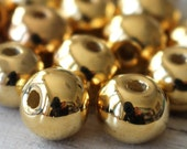 Round - 24K Gold Mykonos Round Beads - Mykonos Gold Beads - Jewelry Making Supply - Metalized Ceramics 12-14mm - Large Hole - Choose Amount