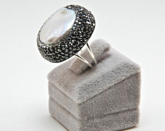 Druzy Chrysoprase  Pearl Gemstone Swarovski Crystal  Rings, Pearl and Sterling Silver Adjustable Sparkly Drusy
