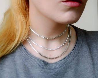 Chain Choker Necklace, Silver Layered Choker, Simple Everyday Choker