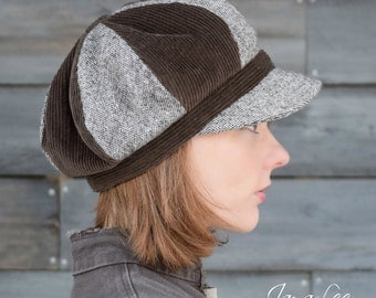 Brown Newsboy Hat Slouchy Patchwork Tweed & Corduroy
