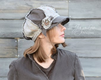 Shabby Linen Newsboy Hat Rustic Earth Tones
