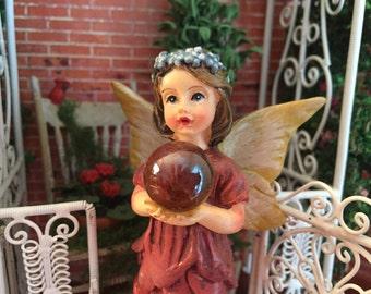Garden Fairy Figurine, Standing Fairy Holding Gazing Ball, Yellow Wings, Burgundy Dress, Fairy Garden Accessory, Home & Garden Decor