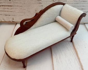 Miniature Chaise, Swan Fainting Couch, Walnut Chaise, Dollhouse Furniture, 1:12 Scale, Miniature Collectible