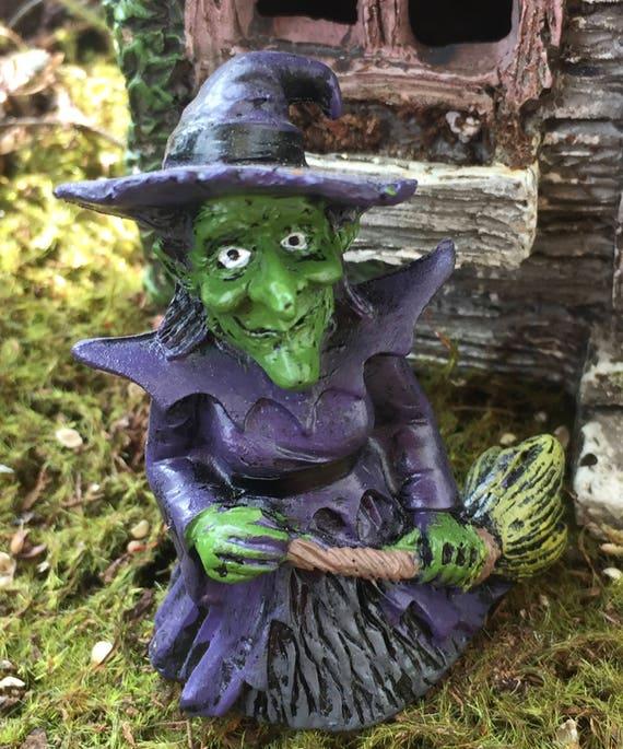 Mini Witch Figurine, Hazel Witch With Broom, Garden Decor, Fairy Garden Accessory, Topper, Halloween Decor