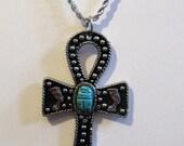 "Vintage Egyptian Revival Ankh Pendant with Scarab on Silvertone Crown Trifari Chain, 23"", Boho"