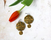 Reserved for Amandine, Gold Sequin Earrings, Felt Embroidery, Contemporary Modern Jewelry, Coin drop Earrings, Sparkle Hologram Sequins