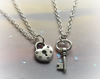 Lock and Key necklace set, Heart shaped lock, lovers necklaces, sold per set
