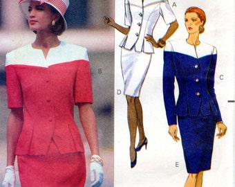 1990s Womens Fitted Suit Pattern - Vintage Butterick 5256 - Size 6 8 10 UNCUT FF