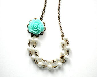 Little Girl Gift Flower Girl Necklace Turquoise Necklace Baby Girl Wedding Jewelry Flower Girl Gift Kid Pearl Necklace Little Girl Necklace