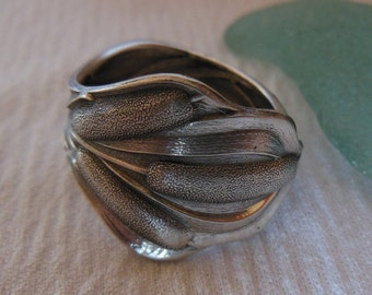 Cattails  Antique Spoon Ring  Sterling Silver