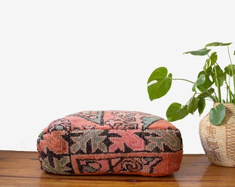 Vintage Moroccan Pouf / Moroccan Boujaad Pouf / Moroccan Floor Pouf / Moroccan Floor Cushion / Floor Pillow / Floor Pouf / FREE US SHIPPING