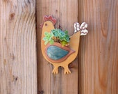 Ceramic Chicken Wall Pocket - Whimsical Hanging Chicken Planter - Clay Hanging Decoration - Pottery Succulent or Plant Holder - Gift