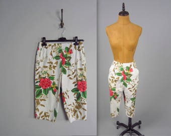 00s does 50's amazing floral clam diggers • vintage 60s rose print pants • hight waisted cotton peddle pushers • medium size  (HR)