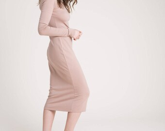 NEW Midi Dress / Ponte Dress / Long Dress / Summer Dress / Long Sleeve Dress / Long Dress / marcellamoda - MD851