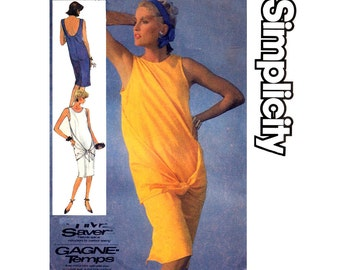 80s Sewing pattern Simplicity 7504 Wrap & Tie Dress Vintage Size 12 14 16 Bust 34 1/2 36 38 inches
