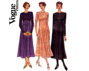 90s High Waisted Stretch Knit Dress Pattern Vogue 8796 Size 6 8 10 Bust 30 1/2 31 1/2 32 1/2 inches UNCUT Factory Folded