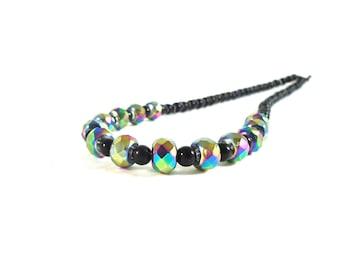 Black Boho Necklace - Iridescent Necklace - Purple Glass Necklace - Purple Boho Necklace - Iridescent Jewelry - Black Onyx Necklace Rainbow