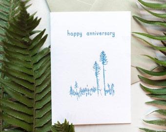 Letterpress Anniversary Trees Card