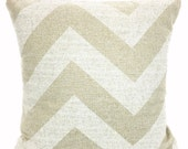 Large Chevron Tan White Pillow Cover, Decorative Throw Pillows, Cushions Natural Cloud Denton Burlap-LIKE Euro Sham, One or More ALL SIZES