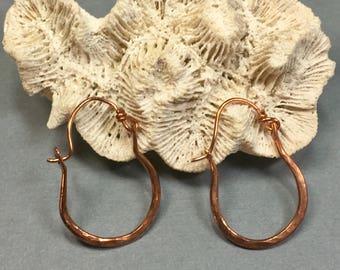 Copper Hoop Earrings, Handmade Hammered Hoops 1 & 1/8 Inches Long .75 Inches Wide, Petite Copper Hoop Earrings