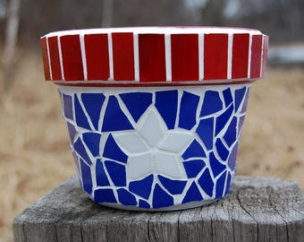 Planter  Mosaic Americana Red, White, Blue Stained Glass