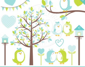Blue and Green Sweet Tweet Birds Cute Digital Clipart for Commercial or Personal Use, Sweet Birds Clipart, Valentine Clipart, Baby Birds