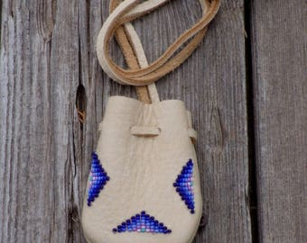 beaded medicine bag , necklace bag , buckskin leather pouch