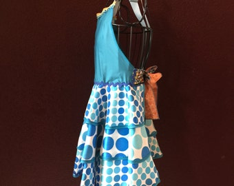 Apron Polka Dot Blues  Apron by Trish Vernazza Featured designer in Apronology Magazine