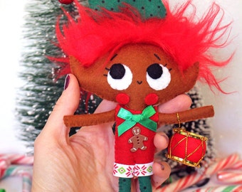 Christmas elf pixie doll little plush cute boy