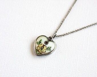 Vintage Lampl Heart Charm 1940s Enamel Birth Month February Sterling Yellow Primrose Amethyst Crystal Birthstone Birth Flower Necklace